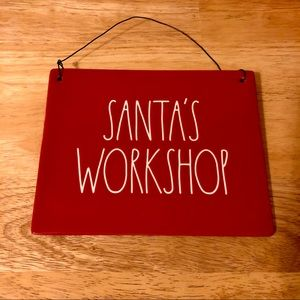 Rae Dunn Santa's Workshop sign NWT